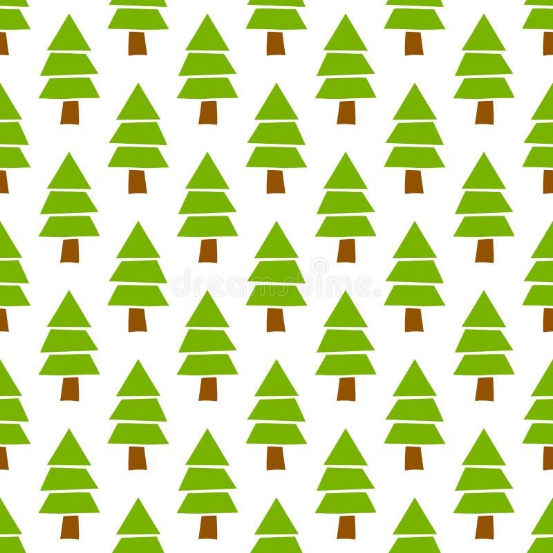 Mão simples teste padrão sem emenda tirado da floresta do pinheiro do Natal do vetor ilustração stock