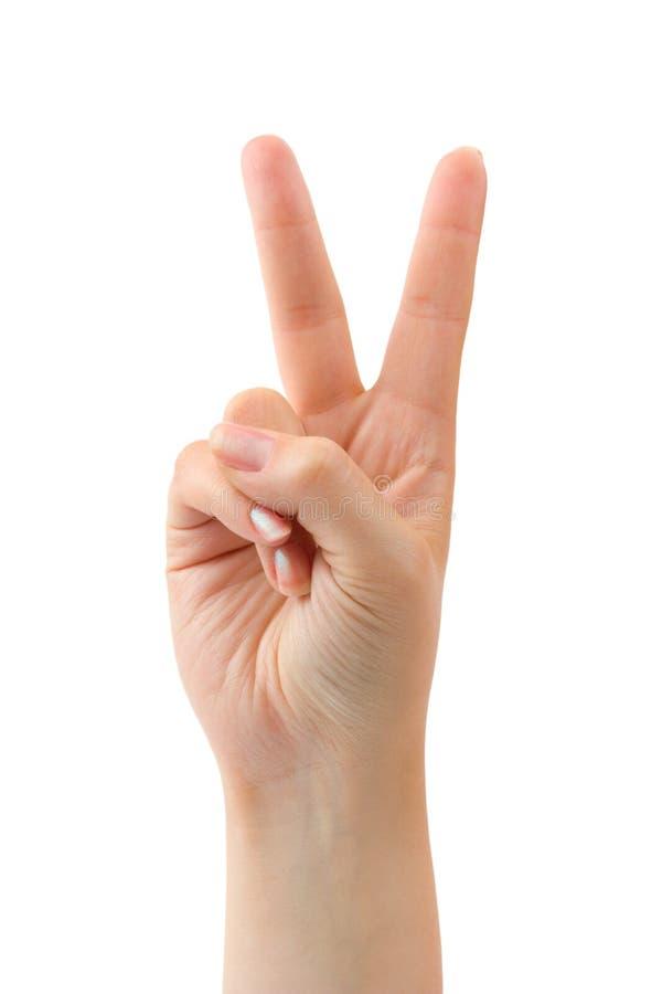 Mão - sinal da vitória imagem de stock royalty free