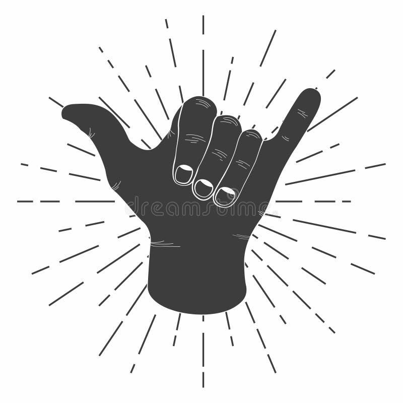 A mão surfando do shaka com tipografia retro do sinal do shaka do vintage do sunburst para a camisa de t e o cartaz imprimem Gráf ilustração stock