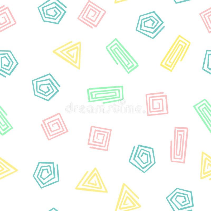 A mão tira formas geométricas espirala teste padrão sem emenda Fundo infinito do vetor dos triângulos, quadrados, círculos ilustração stock