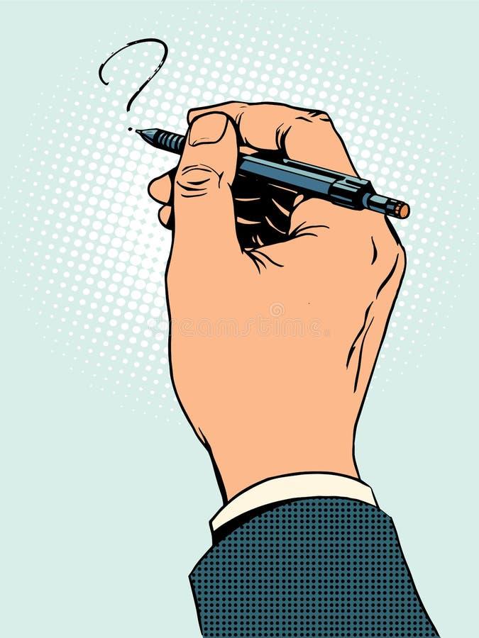 A mão tira uma pergunta ilustração stock