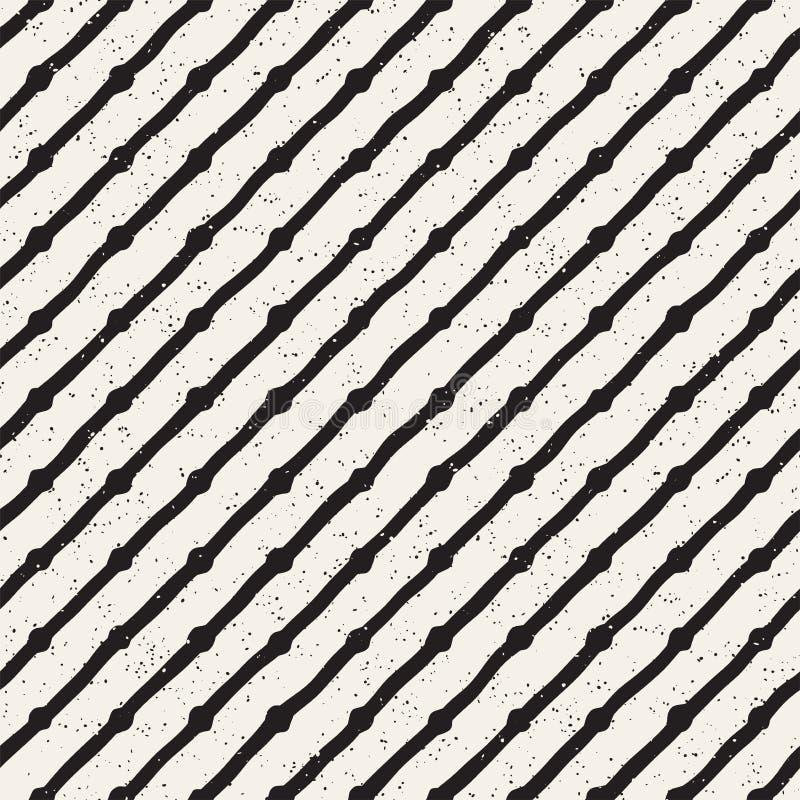 A mão tirada alinha o teste padrão sujo sem emenda Textura de repetição geométrica abstrata em preto e branco ilustração do vetor