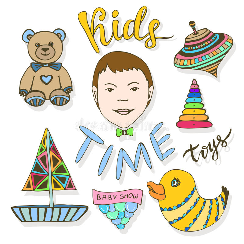 A mão tirada caçoa a coleção dos brinquedos Grupo colorido criançola do vetor dos ícones do esboço ilustração royalty free