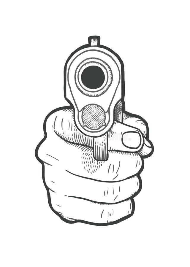 Mão tirada mão com arma ilustração stock