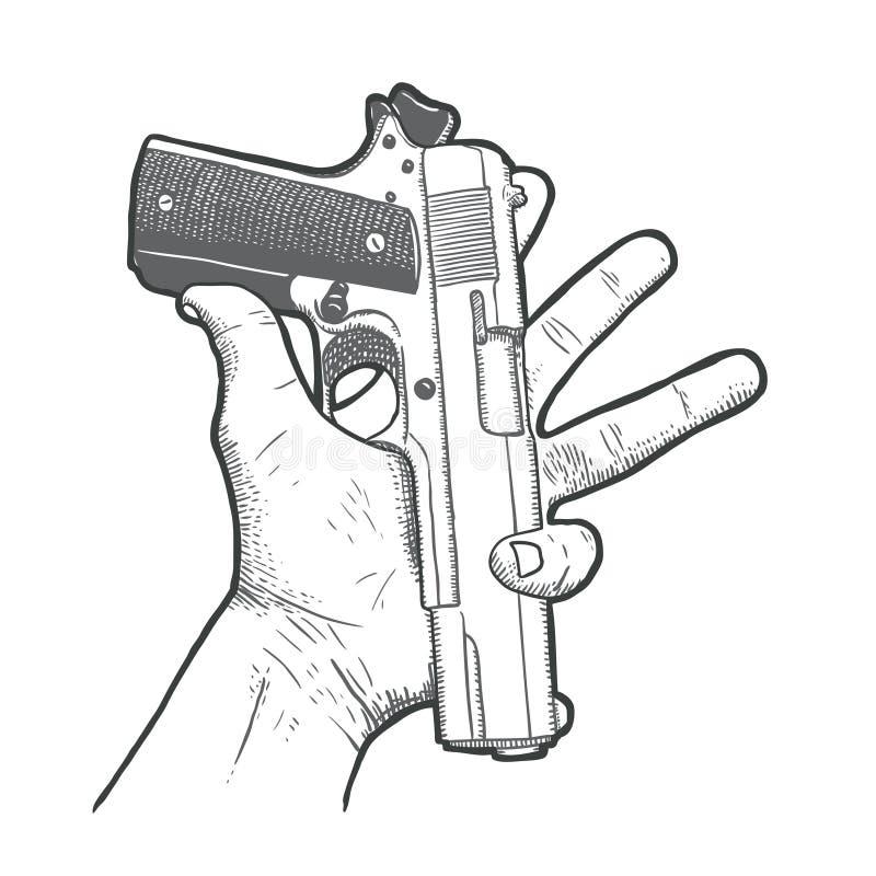 Mão tirada mão com arma ilustração do vetor