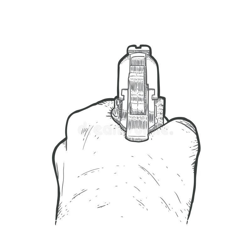 Mão tirada mão com arma ilustração royalty free