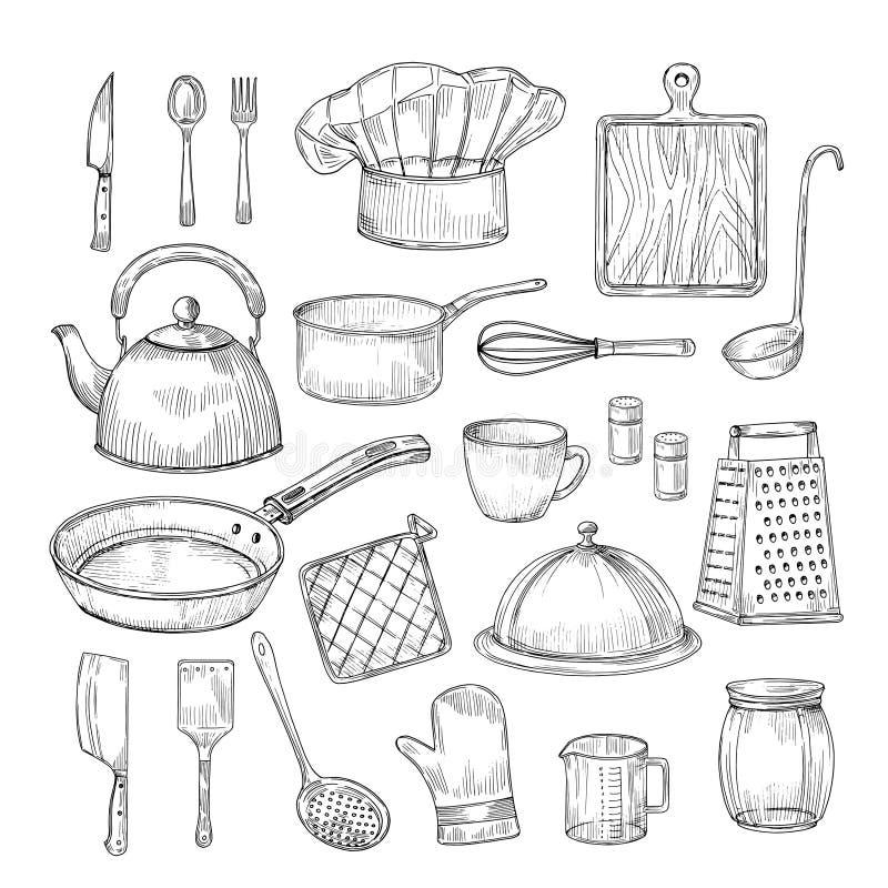Mão tirada cozinhando ferramentas Coleção do vetor do esboço do vintage dos utensílios do kitchenware do equipamento da cozinha ilustração stock