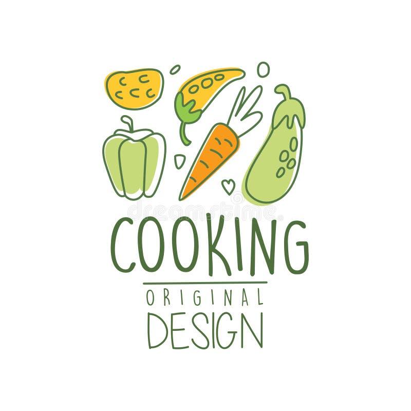 Mão tirada cozinhando o projeto do logotipo com legumes frescos Café do alimento biológico Linha culinária etiqueta com cenoura,  ilustração royalty free