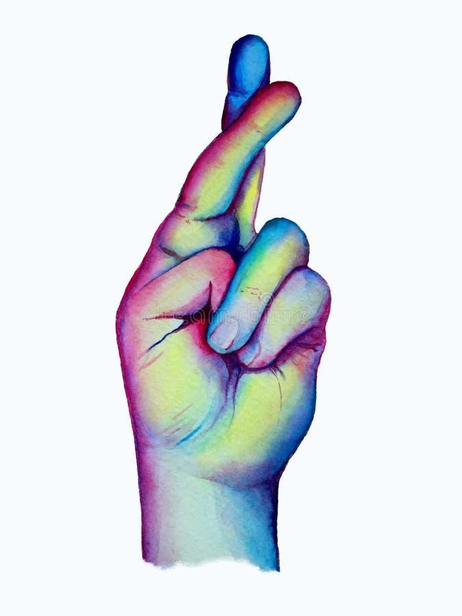 A mão tirada cruzou os dedos ilustração royalty free