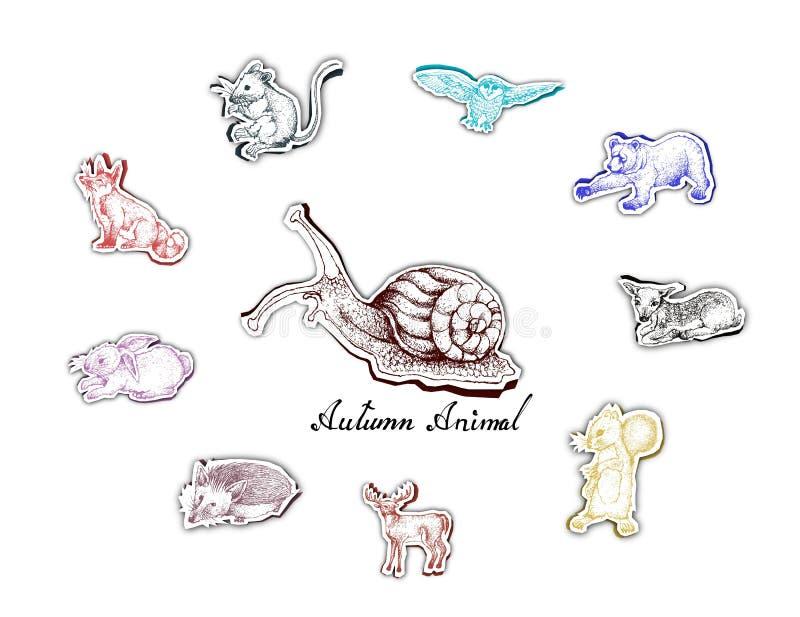 Mão tirada de Autumn Animals com arte do corte do papel ilustração stock
