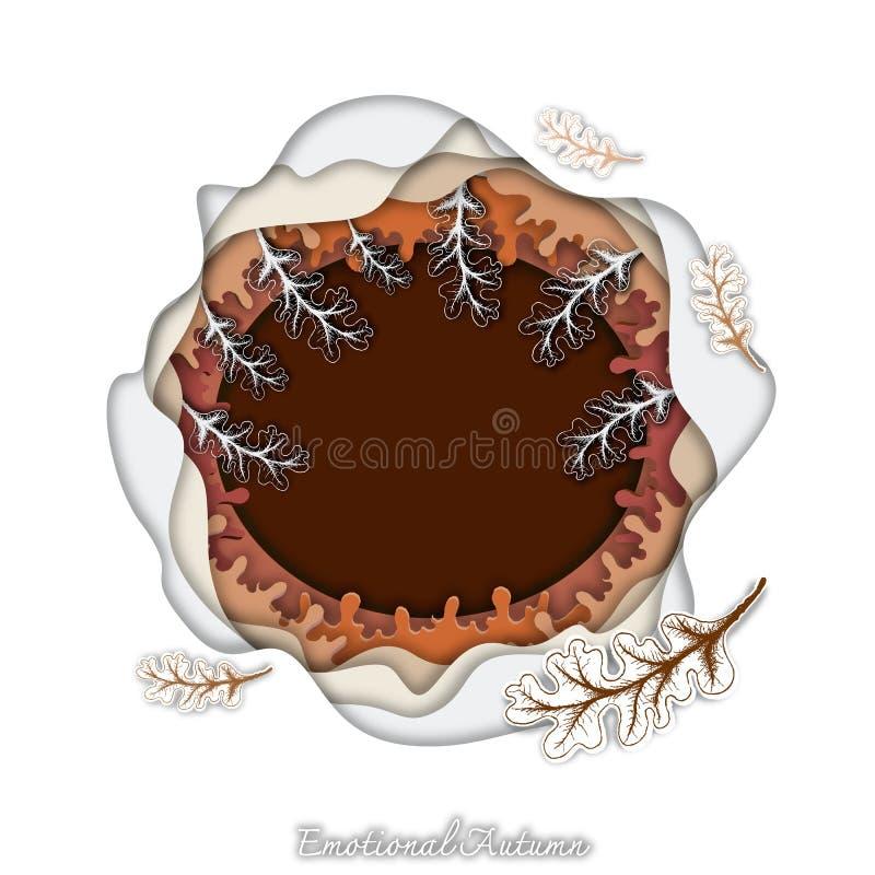 Mão tirada de Autumn Oak Leaves com arte do corte do papel ilustração do vetor