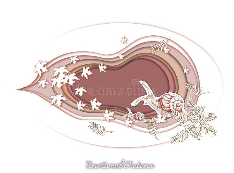 Mão tirada de Autumn Snails com arte do corte do papel ilustração stock