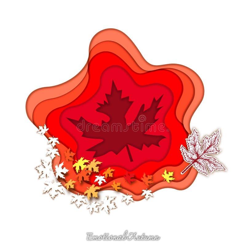 Mão tirada de Autumn Whitetail Deers com arte do corte do papel ilustração stock