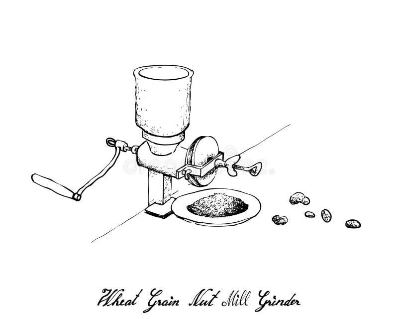 Mão tirada do moedor de café manual com feijão ilustração royalty free