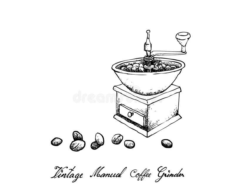 Mão tirada do moedor de café manual do vintage ilustração royalty free