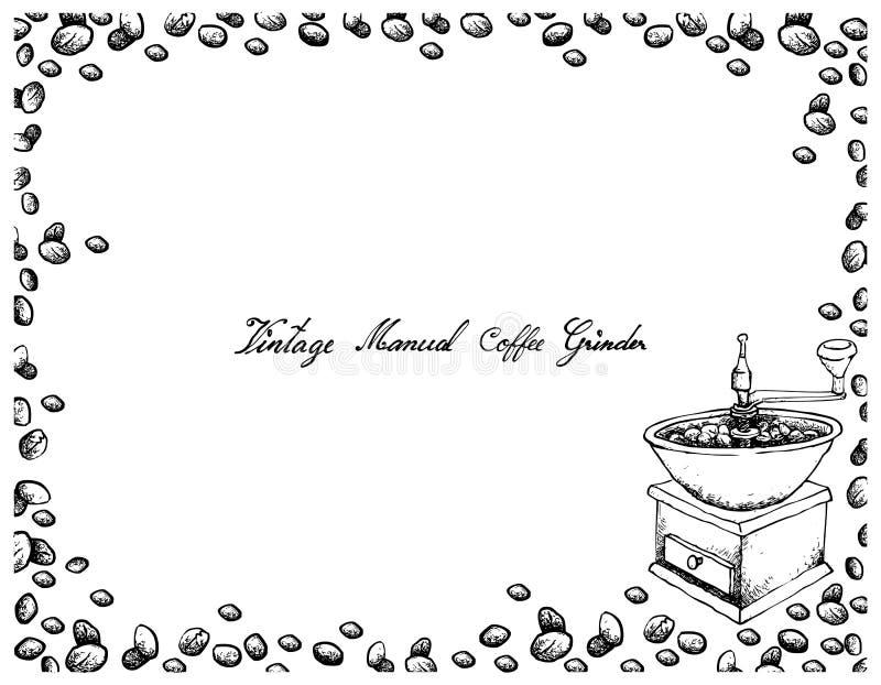 Mão tirada do moedor de café manual do vintage ilustração do vetor
