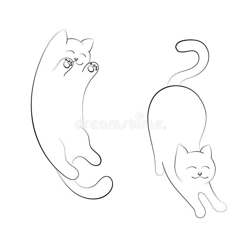 Mão tirada dois gatos Um gato está em um humor brincalhão, barriga acima, uns outros estiramentos do gato ilustração royalty free