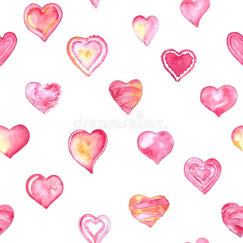 Mão tirada e corações pintados da aquarela ajustados para o cartão do dia de Valentim ou cartão românticos ilustração royalty free