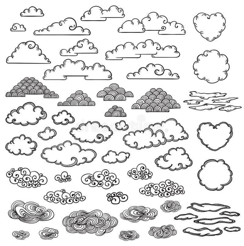 A mão tirada nubla-se a coleção ilustração stock