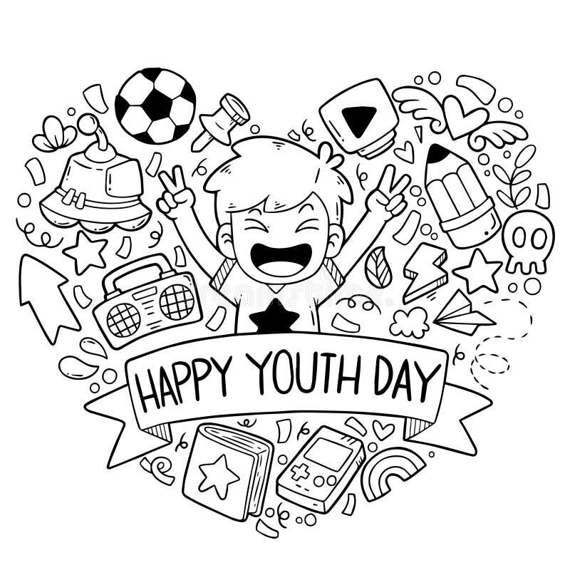 06-19-005 a mão tirada rabisca a ilustração feliz do vetor do teste padrão do fundo dos ornamento do dia da juventude ilustração royalty free