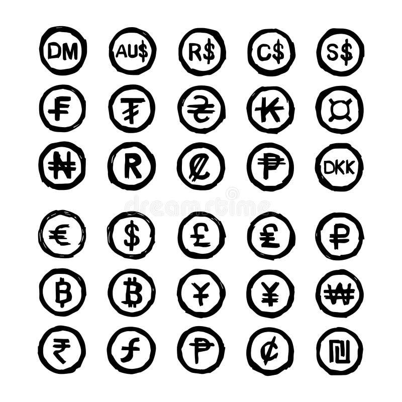 A mão tirada rabisca símbolos de moeda internacionais ilustração stock