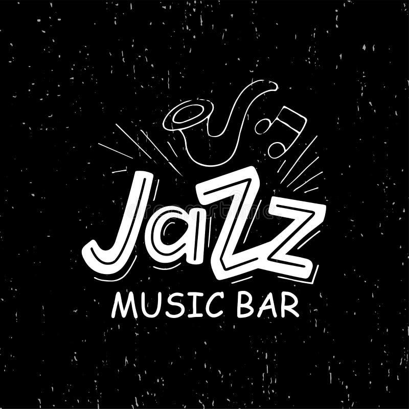 Mão tirada rotulando a barra da música jazz ilustração royalty free