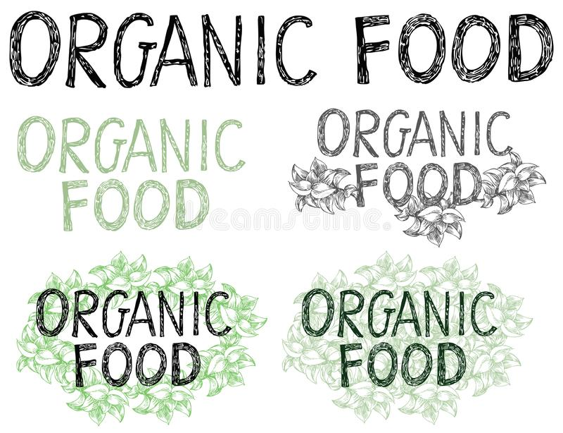 Mão tirada rotulando o alimento biológico ilustração royalty free