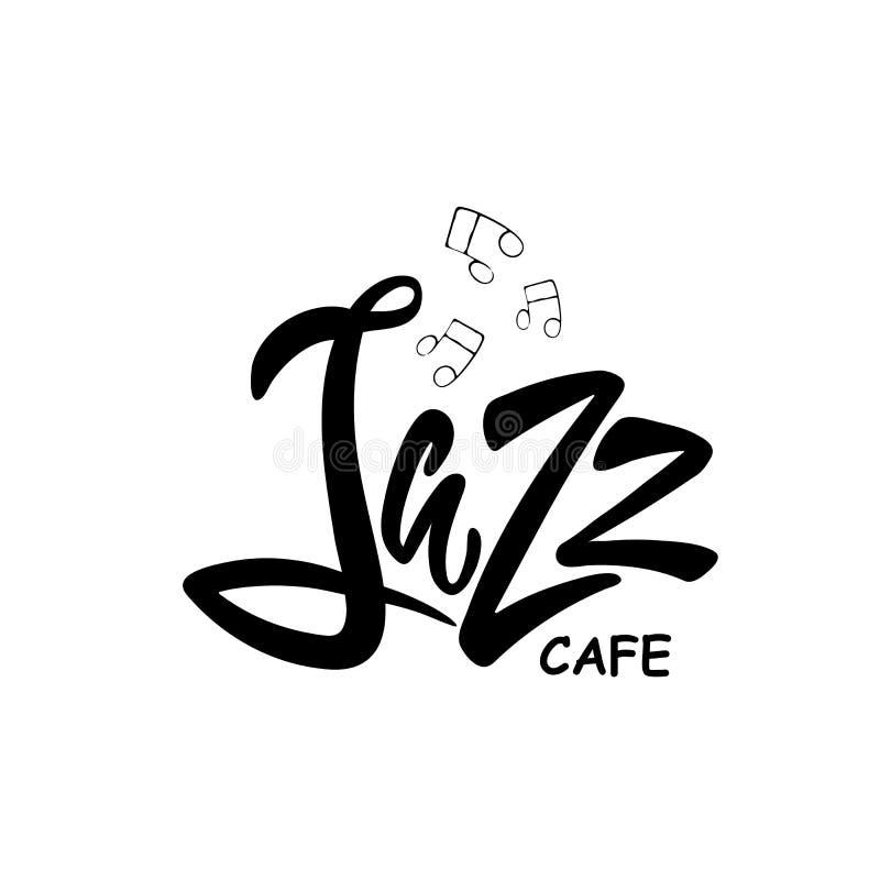 Mão tirada rotulando o café do jazz ilustração do vetor