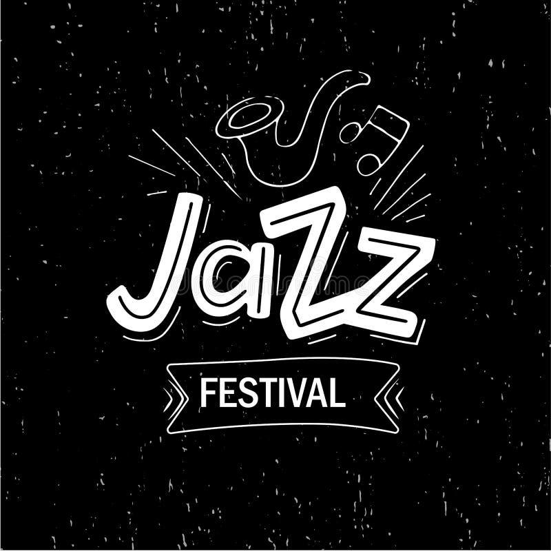 Mão tirada rotulando o festival de jazz ilustração do vetor