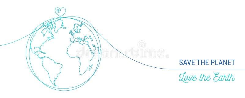 Mão tirada salvo o conceito do mundo ilustração do vetor