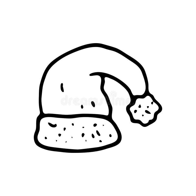 Mão tirada um ícone da garatuja do chapéu de Santa Claus Sketc preto tirado mão ilustração stock