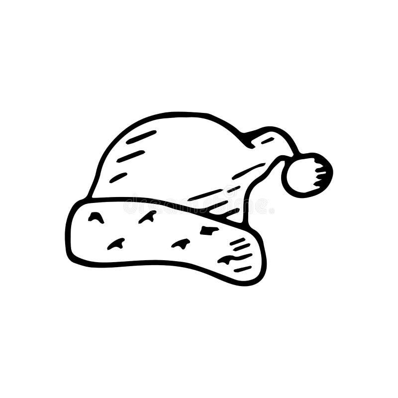 Mão tirada uma garatuja do chapéu de Santa Claus Ícone do estilo do esboço Decorati ilustração royalty free