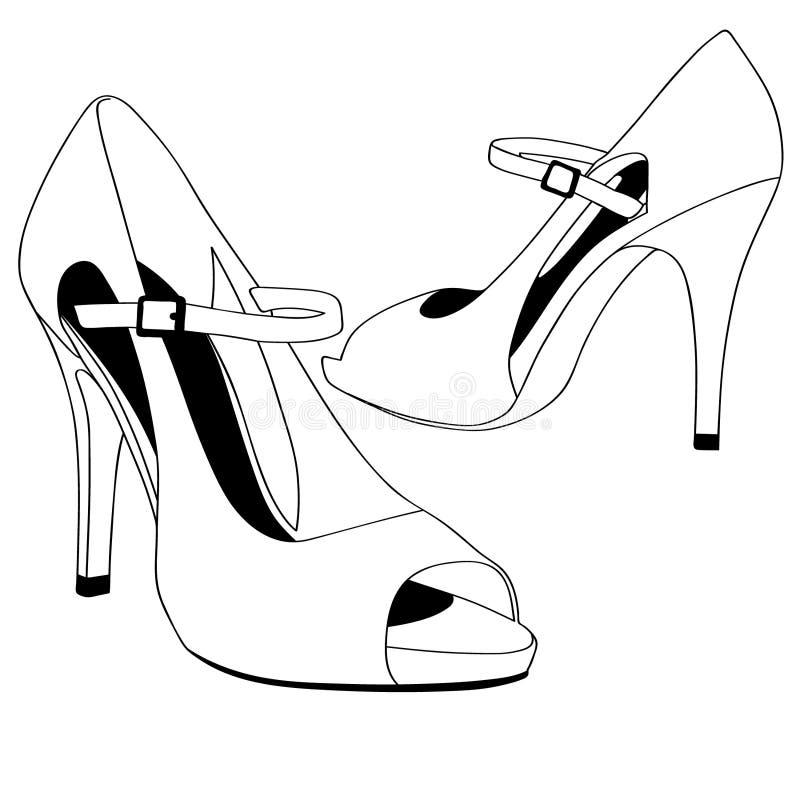 Mão tirada, vetor do eps do vetor dos saltos altos das sapatas do casamento, Eps, logotipo, ícone, ilustração da silhueta por cra ilustração do vetor