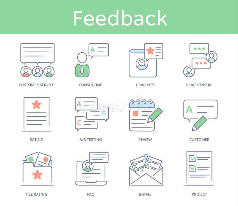 Mão tirado linha ícone do estilo ajustado: Serviço ao cliente, gestão do relacionamento, feedback, elementos do negócio, solução  ilustração stock