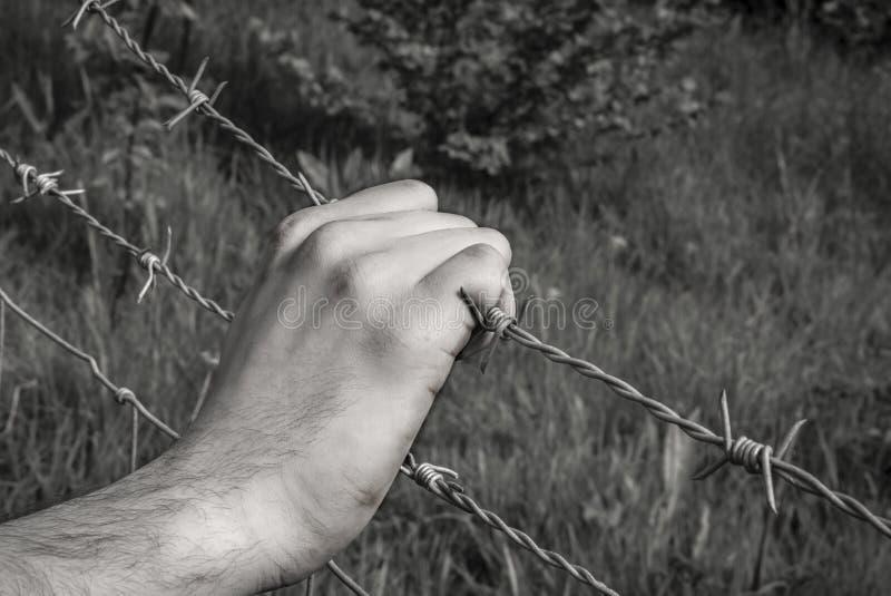 Mão torturada que agarra o arame farpado fotografia de stock royalty free