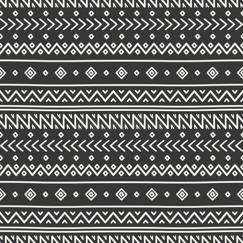 Mão tribal linha tirada teste padrão sem emenda étnico mexicano geométrico Beira Papel de envolvimento scrapbook doodles vintage ilustração royalty free