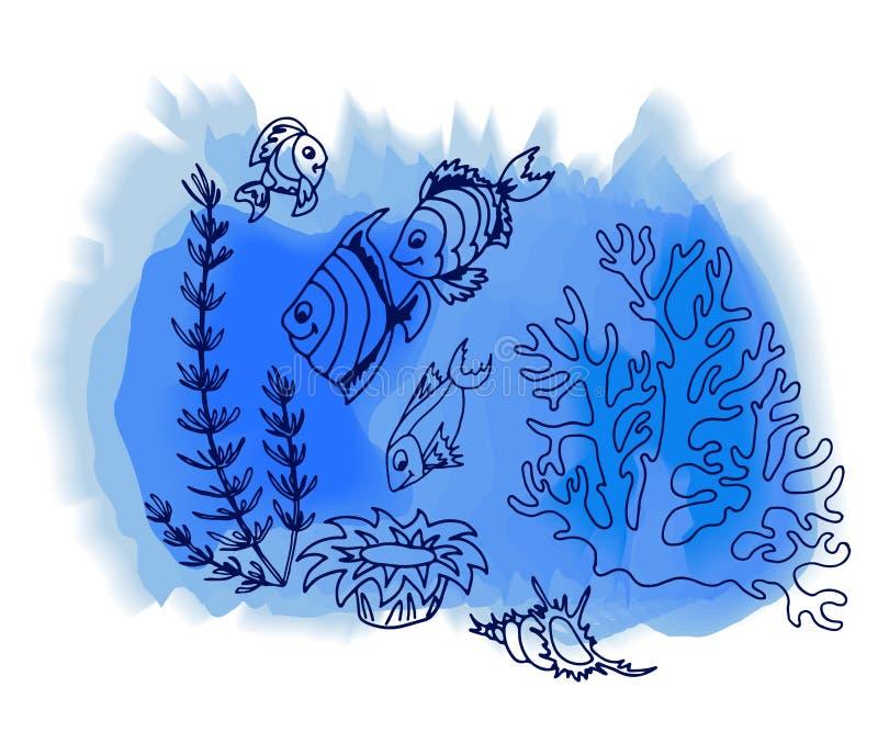 Mão tropical dos peixes tirada ilustração royalty free