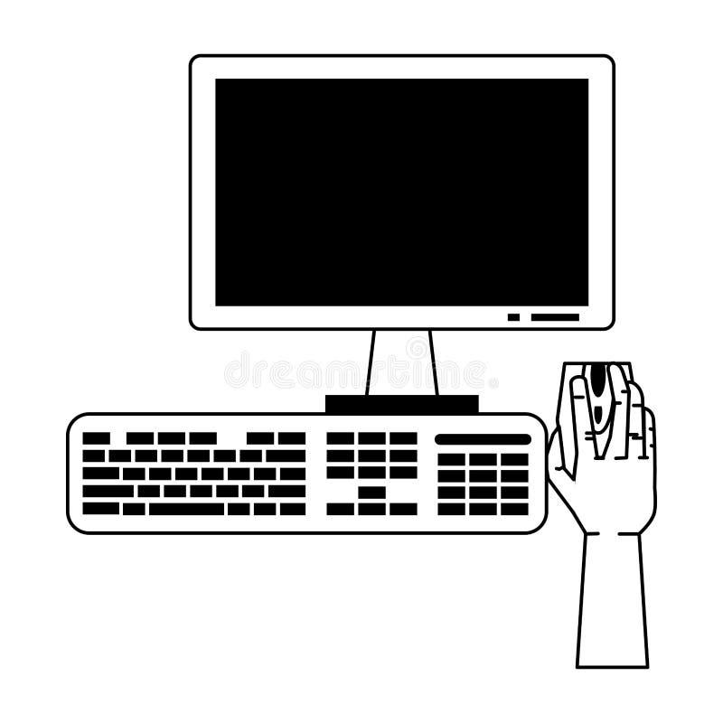 Mão usando o computador da mesa com monitor e teclado do rato em preto e branco ilustração do vetor