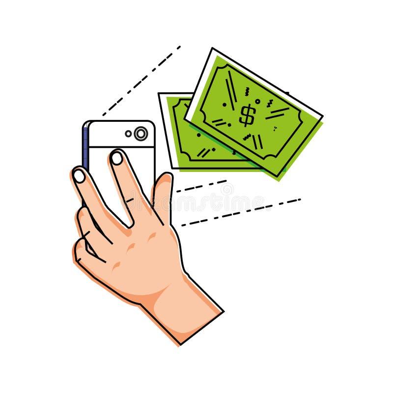 Mão usando o smartphone com dólares das contas ilustração royalty free
