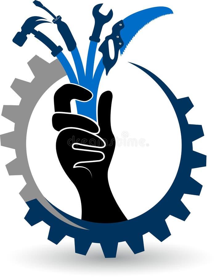 A mão utiliza ferramentas o logotipo ilustração royalty free