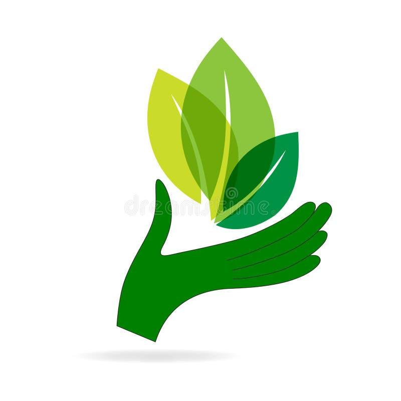 Mão verde com folha verde ilustração do vetor