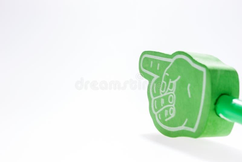 Mão verde com o indicador prolongado isolado fotografia de stock royalty free
