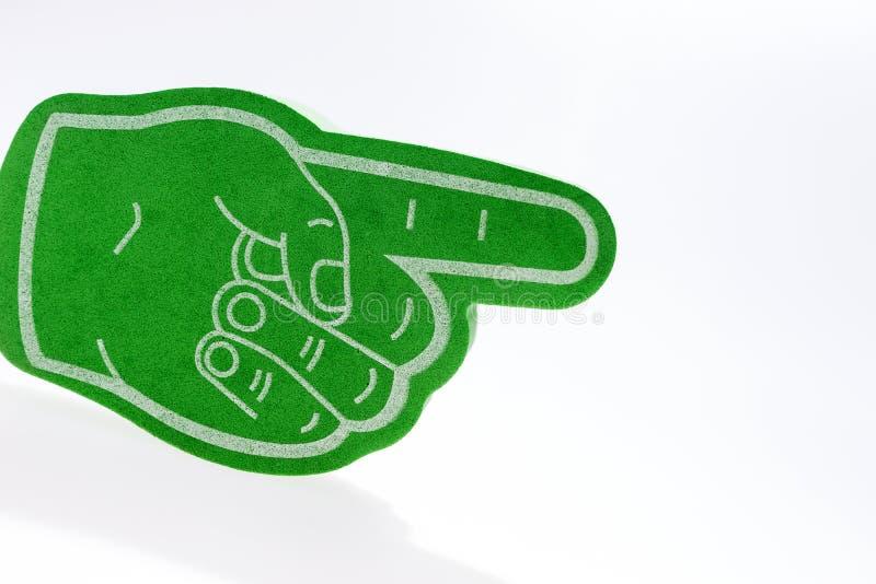 Mão verde com o indicador prolongado isolado fotos de stock