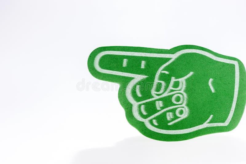 Mão verde com o indicador prolongado isolado fotos de stock royalty free