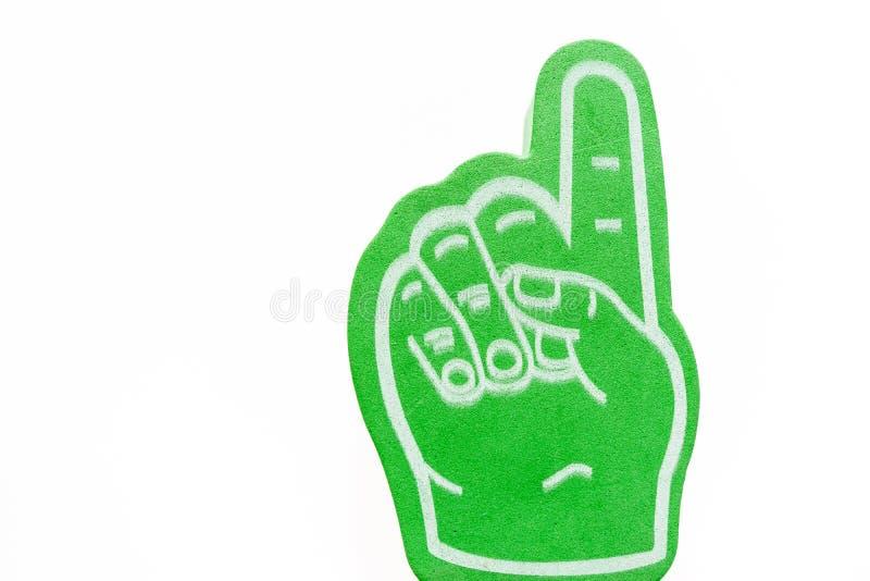 Mão verde com o indicador prolongado isolado foto de stock royalty free