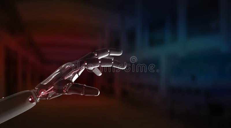 Mão vermelha do robô que aponta a rendição do dedo 3D ilustração do vetor