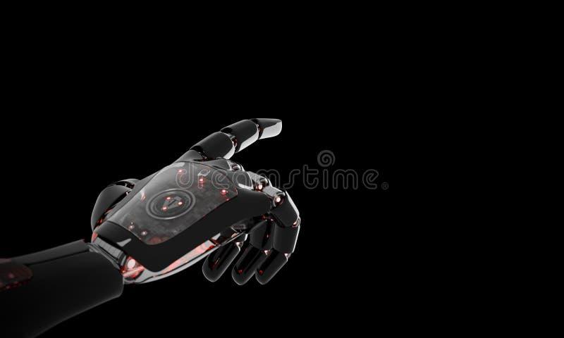 Mão vermelha do robô que aponta a rendição do dedo 3D ilustração stock