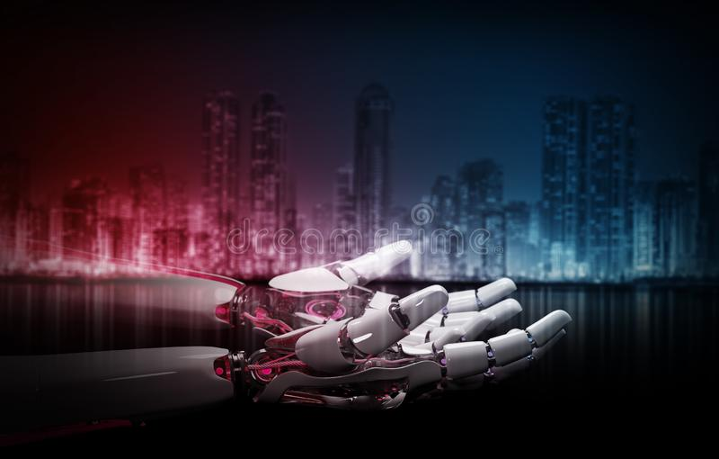 Mão vermelha do robô que faz o contato com rendição humana da mão 3D ilustração stock
