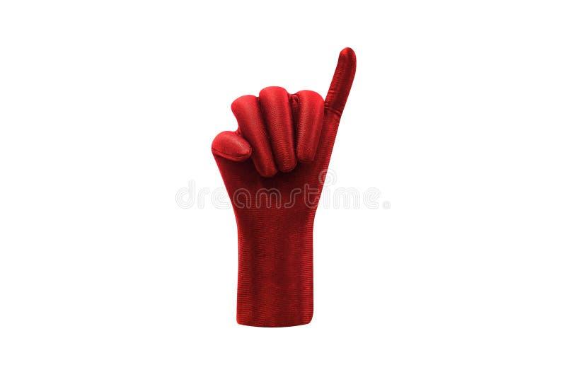 Mão vermelha que mostra pouco dedo isolado no fundo branco imagens de stock royalty free
