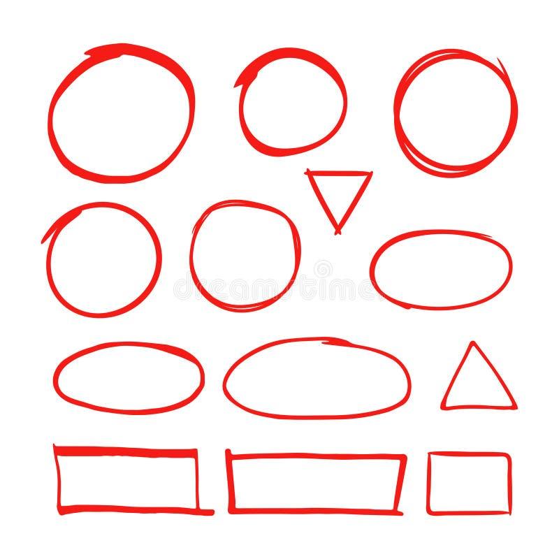 A mão vermelha tirada dá forma ao marcador para destacar o texto isolado no fundo branco ilustração stock